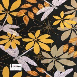 bomuldsjersey med guldsmede og blomster