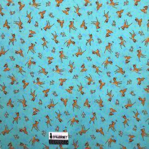 Bomuld poplin med Bambi og Stampe, Økotex 100