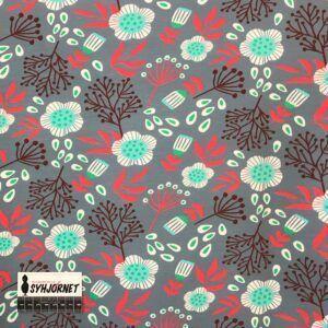 Bomuldsjersey med blomster og frø Økotex 100