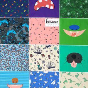 Mundbind med 12 sjove motiver blå grønne nuancer