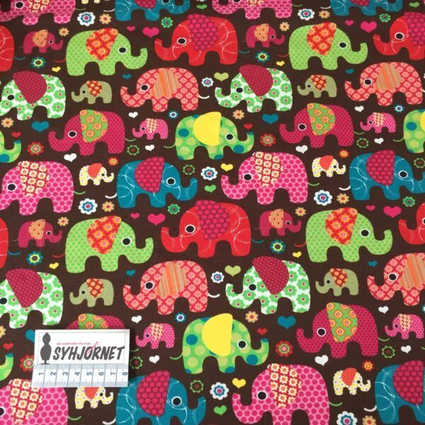 Bomuld jersey med farvede elefanter på brun bund