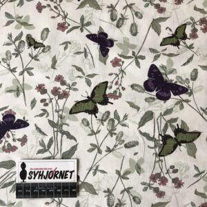 Bomuldsjersey støvet grøn med sommerfugle