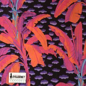 Kaffe Fassett lækker vævet bomuld med orange, pink og lilla palmer, Økotex 100.