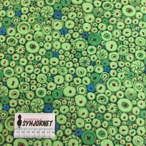 Kaffe Fassett vævet bomuld med grønne knapper, Økotex 100