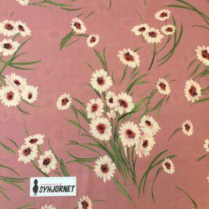 Bomuld med fine blomster buketter på mørk rosa bund fra Italiensk modehus
