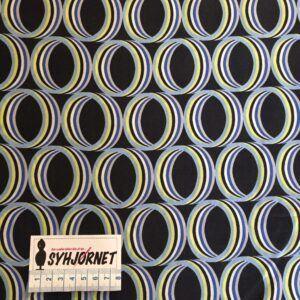 Viskose vævet med cirkler i blå, hvide og gule cirkler