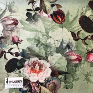 Viskose og hør med flot blomstermotiv