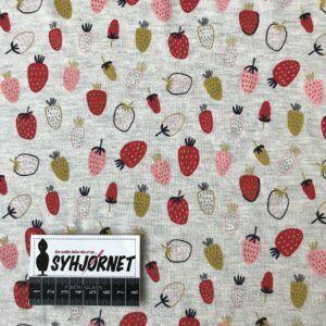 bomuldsjersey jordbær på melleret bund