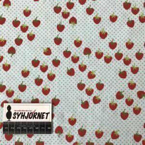 bomuldsjersey med jordbær på prikket turkis bund