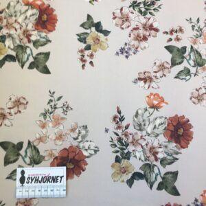Bomuld med lidt lycra med flotte blomster på lys bund fra italiensk modehus