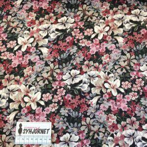 Vævet viskose med rosa og hvide blomster fra Italiensk Modehus