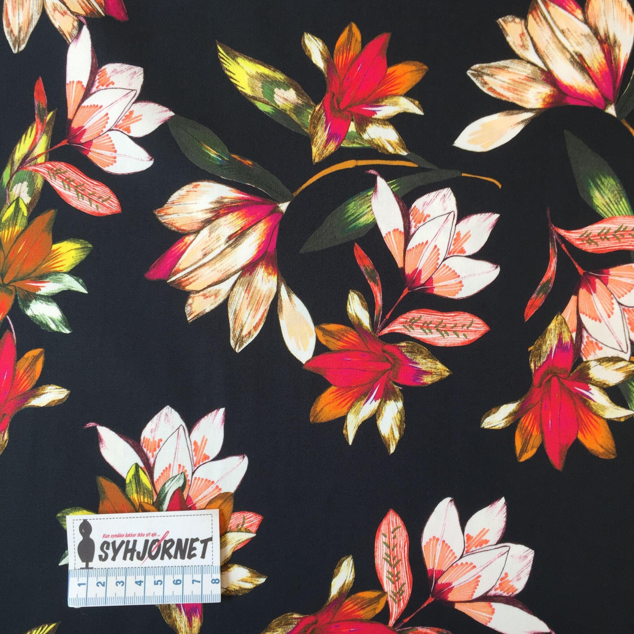 Bomuld med lidt lycra, sort bund med farverige blomster