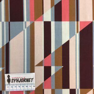 Bomuldsjersey med farvede striber og trekanter i blå, rosa og brune farver, økotex 100