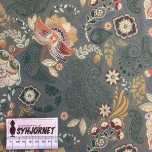 Bomuldsjersey med jacquard ranker og blomster, økotex 100.