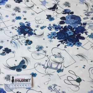 Bomuldsjersey med trøjer, mønstre, blomster og sommerfugle på hvis bund