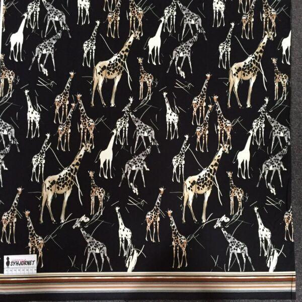 Viskosejersey rapport med giraffer og stribet bort forneden økotex 100