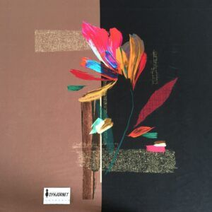 Viskosejersey som rapport i sorte og brunlige felter med stor blomst økotex 100