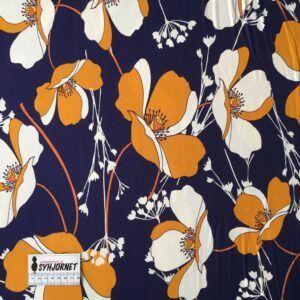 Viskosejersey med store okkerfarvede blomster på marineblå bund økotex 100