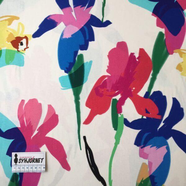 Viskosejersey med store farverige iris og påskeliljer økotex 100