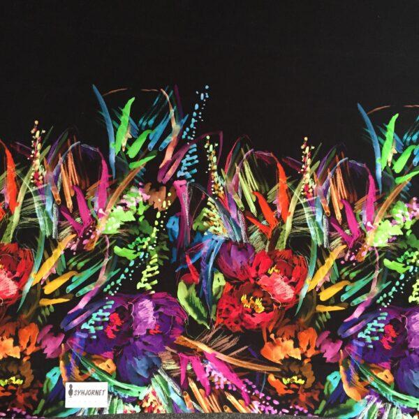 viskosejersey med farverig blomster bort økotex 100