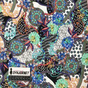 Bomuldsjersey blomstermotiver i mange farver
