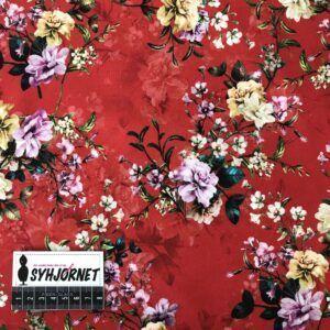 bomuldsjersey rød med blomster