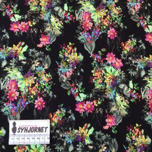 Viskose jersey sort bund med farverige blomster
