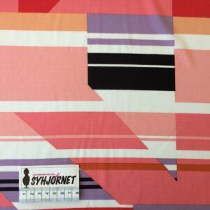 Viskose vævet med striber og trekanter i lyserøde og lilla farver