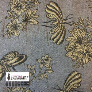 Bomuld med lycra og metal guld blomster og insekter