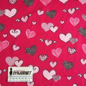 bomuldsjersey i pink med hjerter