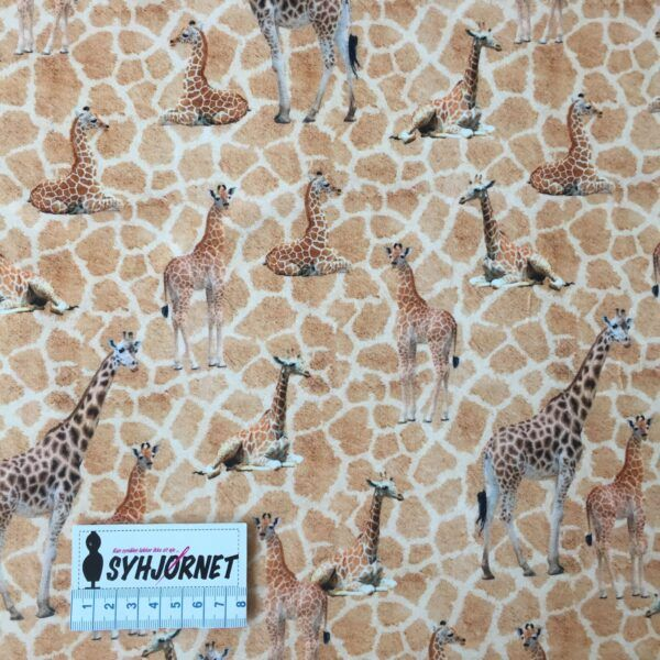 Bomuldsjersey med giraffer økotex 100