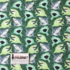 Bomuldsjersey med hajer i grønne farver økotex 100