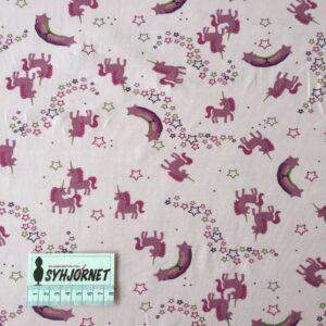Bomuldsjersey i lyserød med enhjørning økotex 100