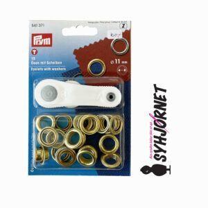 Sejlring-snørering messing 11 mm med værktøj
