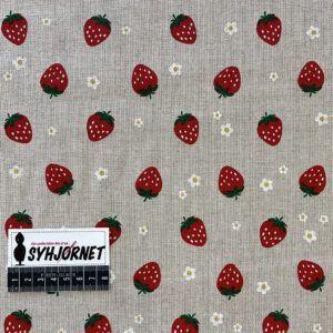 Bomuld og polyester vævet og print med jordbær og blomster