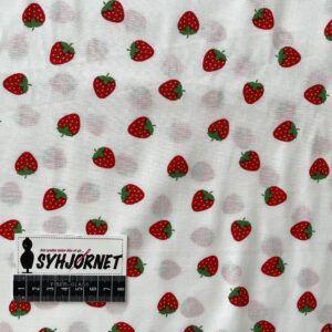 Bomulds poplin vævet hvid bund med jordbær