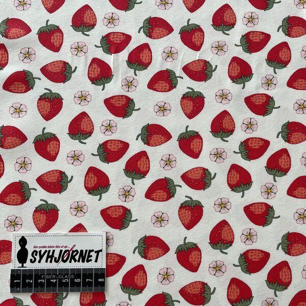 Bomuldsjersey hvid bund med jordbær og rosa blomster økotex 100