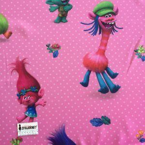 Mørklægningsstof pink med Trolls