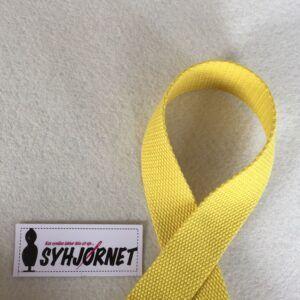 Gjorde bånd i bomuld gul 3 cm bred