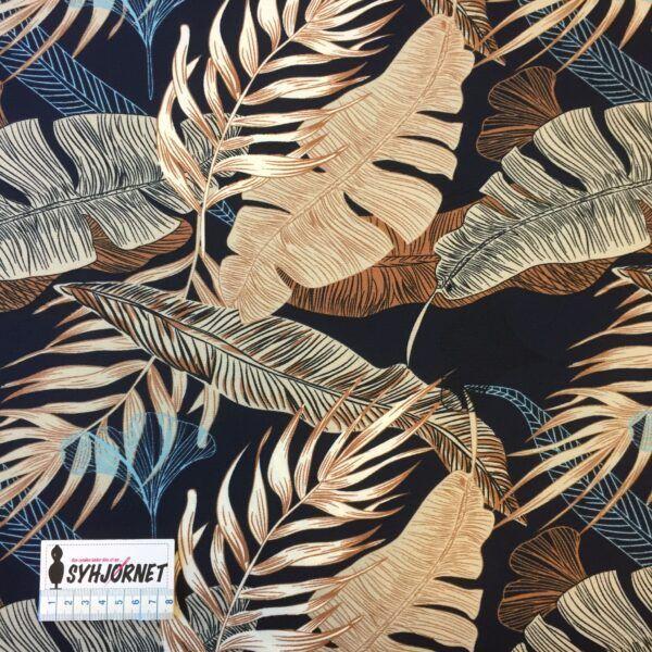 Polyester med lycra mørkeblå bund med store flotte blade