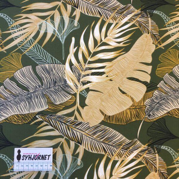 Polyester med lycra karry og olivenfarvede store blade
