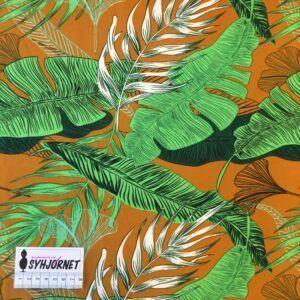 Polyester med lycra i okkerfarvet med grønne store blade