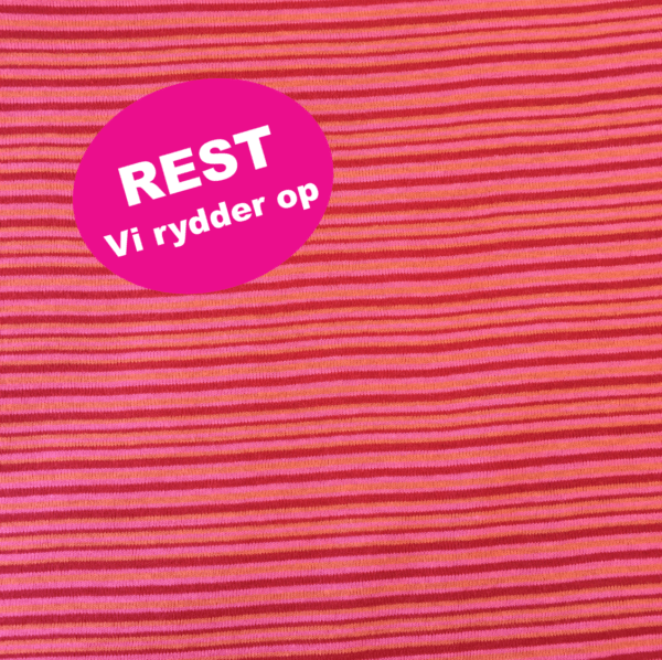 Bomuld strikket med røde, pink og gule striber REST