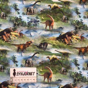 Bomuldsjersey med mange forskellige dinoer økotex 100
