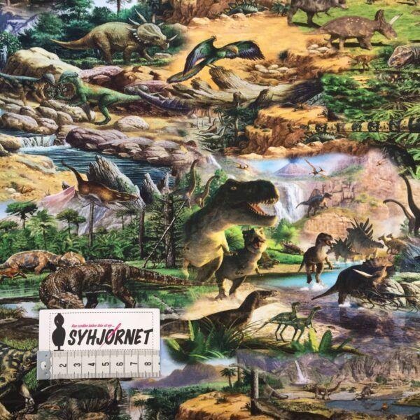 Bomuldsjersey med store dinoer