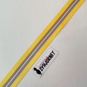 Satinbånd kraftig kvalitet i gul-grå-hvid