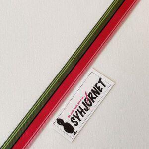 Grosgrain bånd rød, armygrøn og sort 25 mm bred