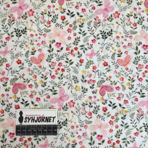 Bomuld fint vævet med små blomster og sommerfugle i pink og lyserød, økotex 100