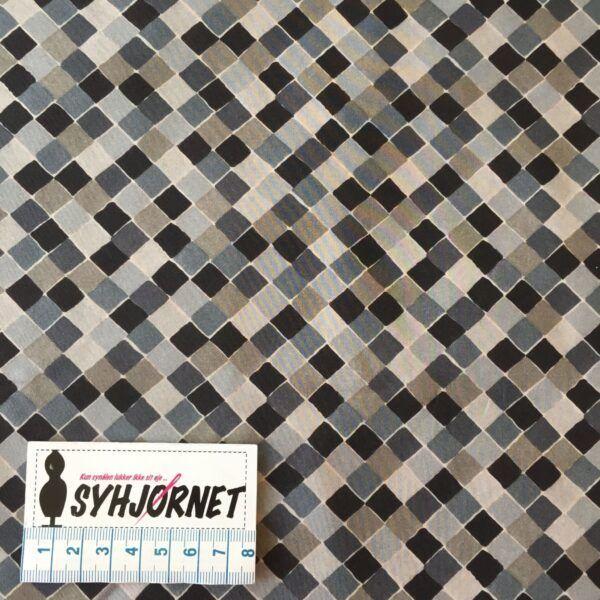 Liberty med harlekins mønster i blå, beige og sorte nuancer økotex 100