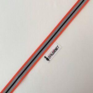 Nylon bånd orange, grå og sort 35 mm bred